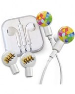 dekaslides-earbuds-with-geometric-rainbow-and-shhh-slide-on-graphics-set-in-white